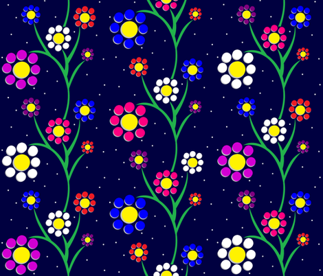 Paper-Cut Flowers - Midnight Dance fabric by b2b on Spoonflower - custom fabric