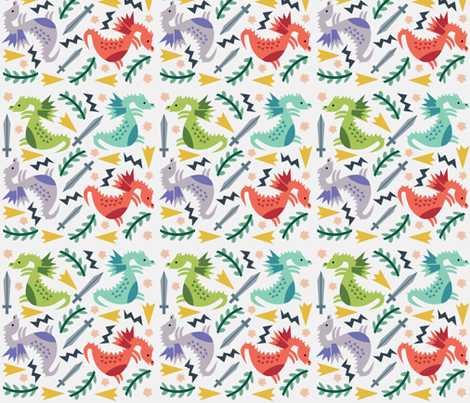 Dragons fabric by mintparcel on Spoonflower - custom fabric