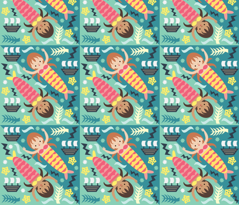 Mermaids fabric by mintparcel on Spoonflower - custom fabric