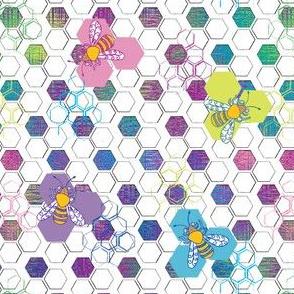 Bee Honeycomb Rainbow Colors