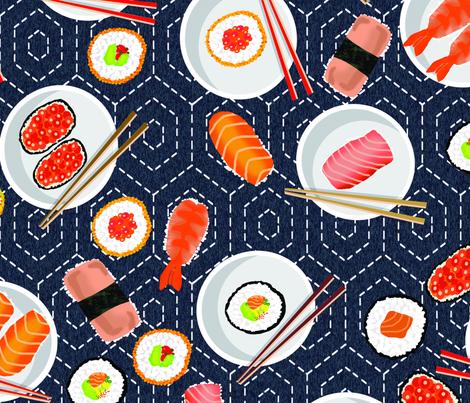 Sashiko Hexagon Sushi Party fabric by honoluludesign on Spoonflower - custom fabric