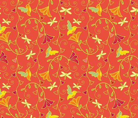 Hummingbird_Bells_aBuzz_Tangerine fabric by johannaparkerdesign on Spoonflower - custom fabric