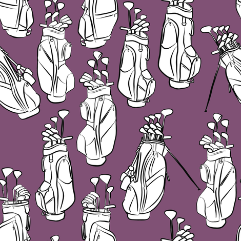 Golf Bags on Purple fabric by landpenguin on Spoonflower - custom fabric