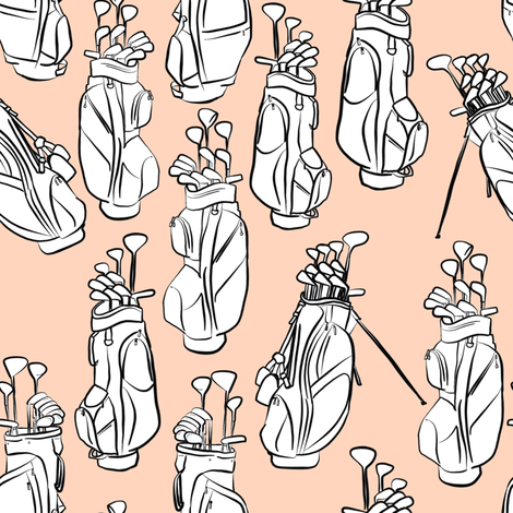 Golf Bags on Pale Pink fabric by landpenguin on Spoonflower - custom fabric