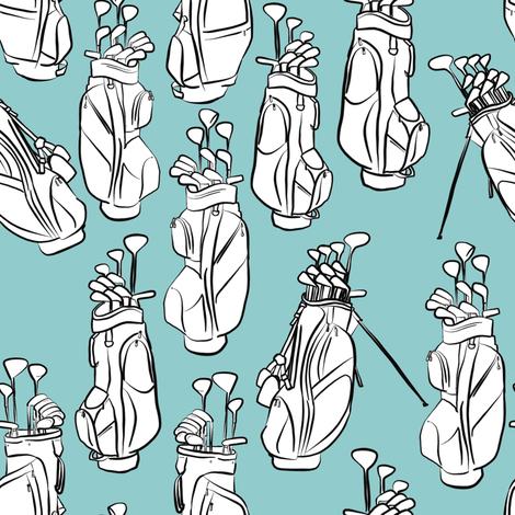 Golf Bags on Light Blue fabric by landpenguin on Spoonflower - custom fabric