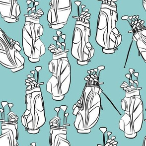 Golf Bags on Light Blue