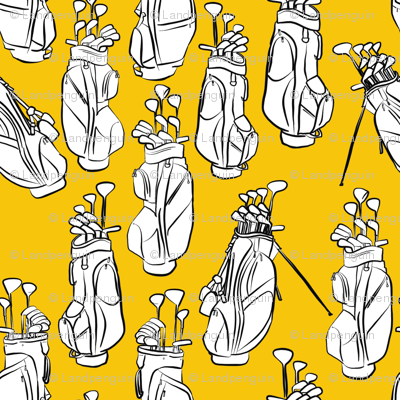 Golf Bags on Yellow