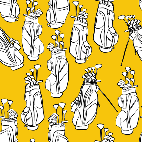 Golf Bags on Yellow fabric by landpenguin on Spoonflower - custom fabric