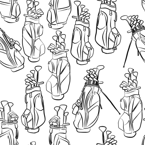 Golf Bags in Black and White fabric by landpenguin on Spoonflower - custom fabric