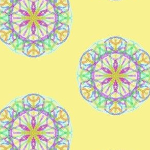Twinkling Hexagon Flowers on Buttery Yellow