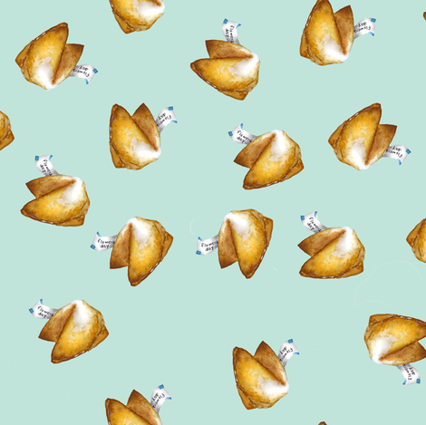 Mint Blue Fortune Cookies fabric by trizzuto on Spoonflower - custom fabric