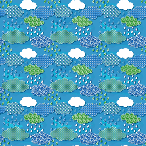 Rain and clouds quilt fabric by magic_pencil on Spoonflower - custom fabric