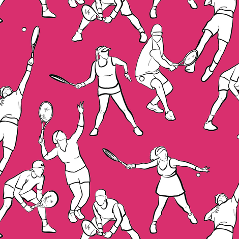 Tennis on Magenta fabric by landpenguin on Spoonflower - custom fabric