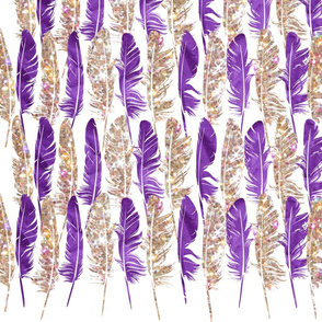 Gold glitter and purple feathers