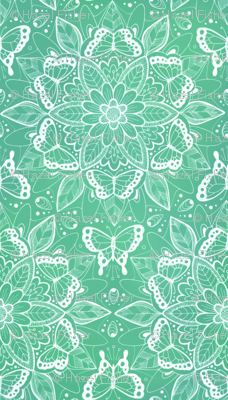 Butterfly Mandala - white on shades of green