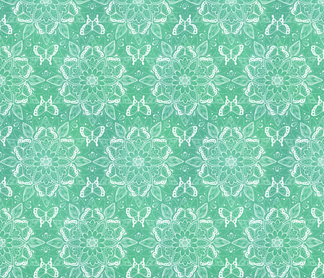 Butterfly Mandala - white on shades of green fabric by hazel_fisher_creations on Spoonflower - custom fabric