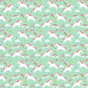 unicorn fabric pink and mint magical unicorn design