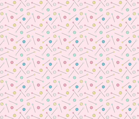 Sewing Notions - pins and buttons on pale pink fabric by hazel_fisher_creations on Spoonflower - custom fabric