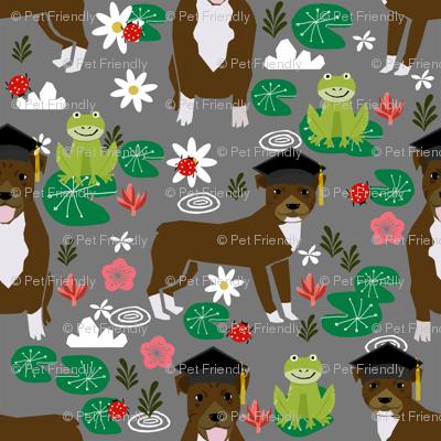 Pitbull frogs graduation dog breed fabric