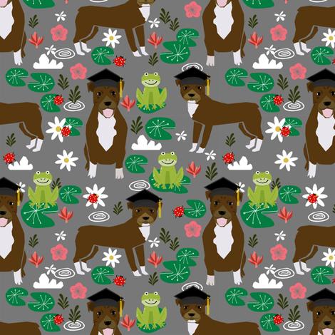 Pitbull frogs graduation dog breed fabric  fabric by petfriendly on Spoonflower - custom fabric