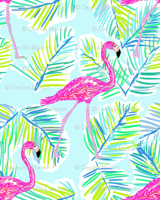 Shore Flamingos in blue