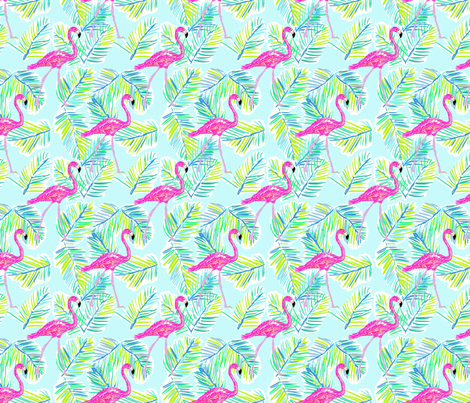 Shore Flamingos in blue fabric by cecimasonart on Spoonflower - custom fabric