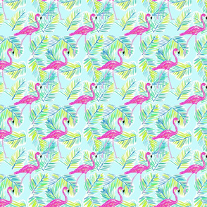 Shore Flamingos in blue