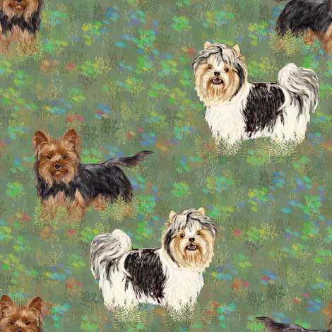 Biewer and Yorkshire Terriers in Wildflower Field fabric by eclectic_house on Spoonflower - custom fabric