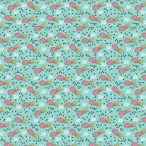 Tropical aqua blue and pink pineapple summer fruit geometric arrow pattern print XS Flipped rotated