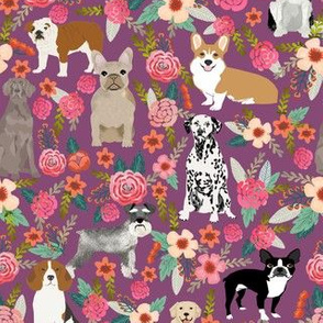 dogs and florals fabric pets and flowers quilting fabric - amethyst