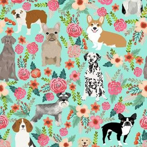dogs and florals fabric pets and flowers quilting fabric - aqua
