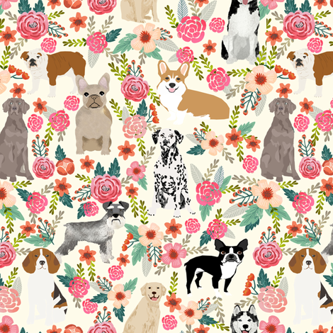 dogs and florals fabric pets and flowers quilting fabric - cream fabric by petfriendly on Spoonflower - custom fabric