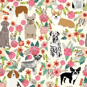 dogs and florals fabric pets and flowers quilting fabric - cream