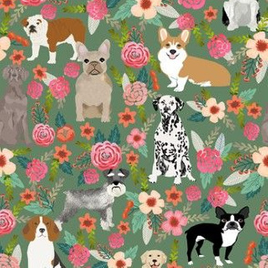 dogs and florals fabric pets and flowers quilting fabric - green