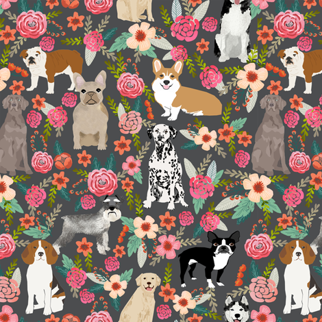 dogs and florals fabric pets and flowers quilting fabric - grey fabric by petfriendly on Spoonflower - custom fabric