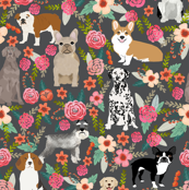 dogs and florals fabric pets and flowers quilting fabric - grey