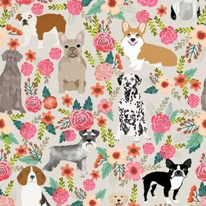 dogs and florals fabric pets and flowers quilting fabric - neutral