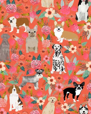 dogs and florals fabric pets and flowers quilting fabric - coral/orange