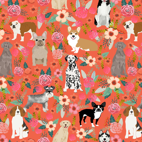 dogs and florals fabric pets and flowers quilting fabric - coral/orange fabric by petfriendly on Spoonflower - custom fabric