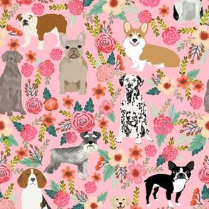 dogs and florals fabric pets and flowers quilting fabric - blossom pink