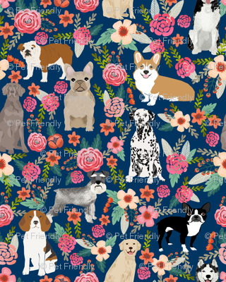 dogs and florals fabric pets and flowers quilting fabric - navy
