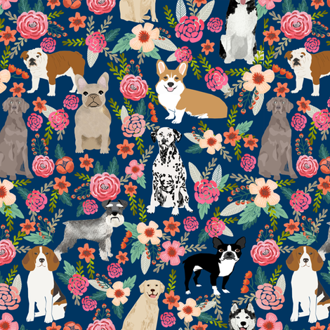 dogs and florals fabric pets and flowers quilting fabric - navy fabric by petfriendly on Spoonflower - custom fabric
