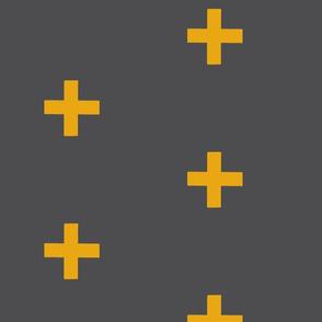 Large Cross - gold on grey - modern plus