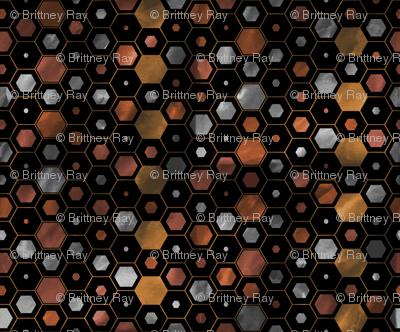 Steampunk Watercolor Hexagons