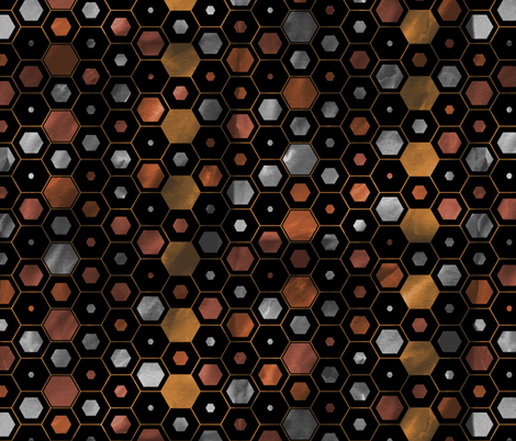 Steampunk Watercolor Hexagons fabric by pond_ripple on Spoonflower - custom fabric