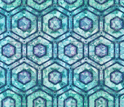 Cubed Marble Hexagons on Teal