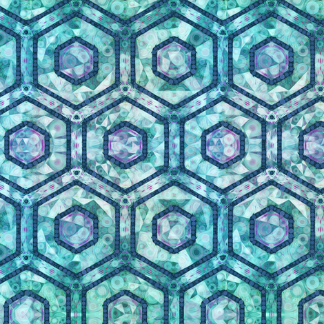 Cubed Marble Hexagons on Teal fabric by elramsay on Spoonflower - custom fabric
