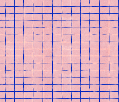 Grid, blue and pink fabric by flowie on Spoonflower - custom fabric