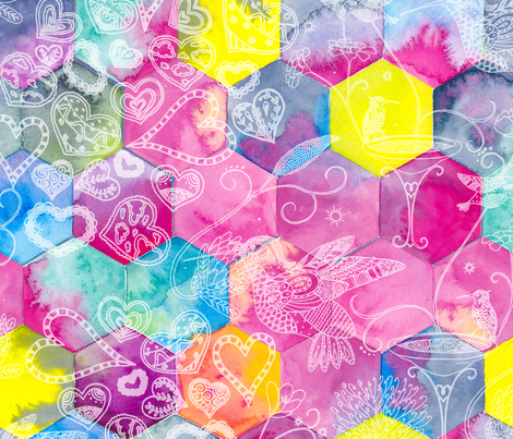 Hexagon Flurry fabric by gingerlique on Spoonflower - custom fabric