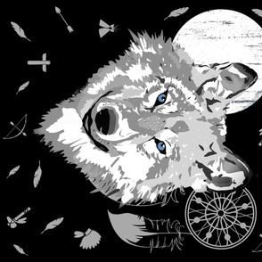 "42""x36"" Boys Boho Wolf / Black / WHITE  MOON / More Feathers"